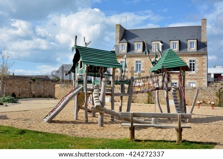 Playground for children in a city - stock photo
