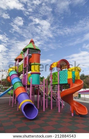 Playground for children in one of the largest parks in Bucharest - stock photo