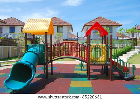Playground in the garden. - stock photo