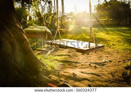 Playground swing - stock photo