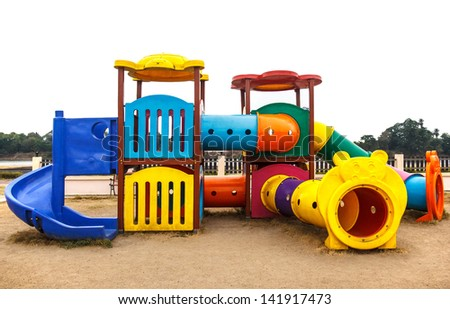 Playground without children  in a park - stock photo