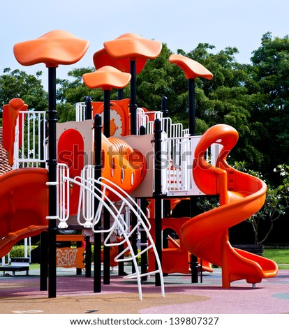 playgrounds in garden - stock photo