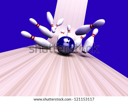 Playing bowling and hitting them all. 3D rendered Illustration. - stock photo