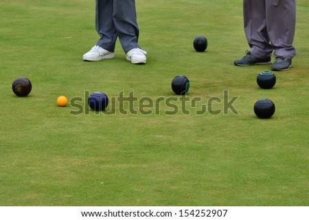 Playing Bowls - stock photo