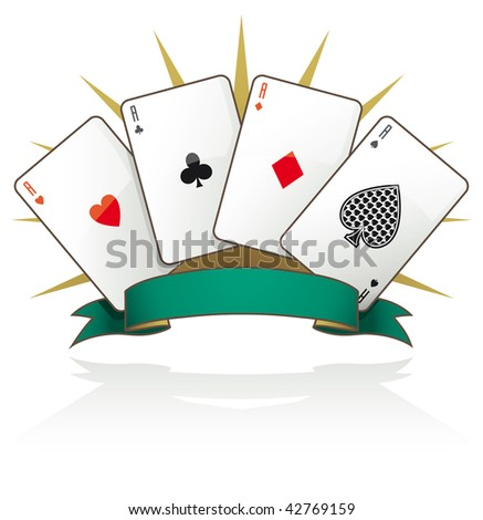 Playing card aces with text banner and reflection on white background - Raster version - stock photo