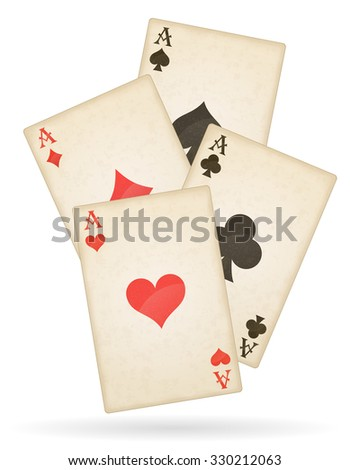 playing cards aces of different suits old retro illustration isolated on white background - stock photo