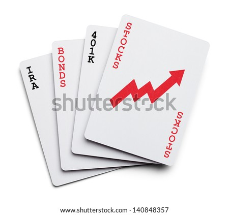 Playing Cards as Investment portfolio with the words Stocks, Bonds, IRA Isolated on White Background. - stock photo