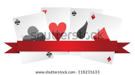 playing cards illustration design over white background - stock photo