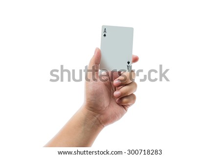 Playing cards in hand isolated on white background with clipping path - stock photo