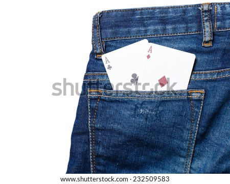 playing cards in jeans pocket - stock photo