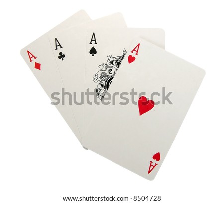 playing cards isolated - Four of a Kind - stock photo