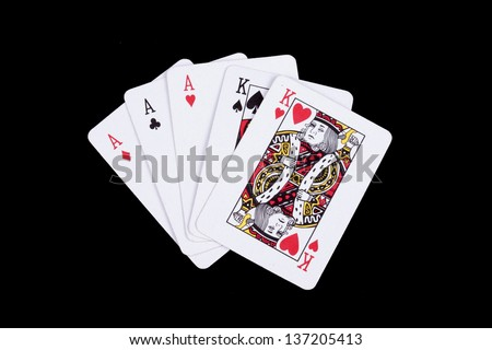 playing cards isolated on a black background, - stock photo