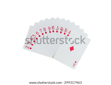 Playing cards isolated on white background with clipping path - stock photo