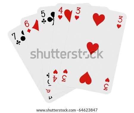 Playing cards,isolated on white with clipping path - stock photo