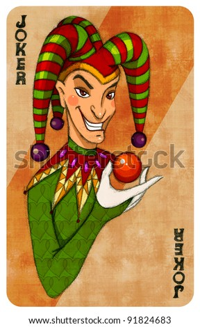 Playing cards - Joker - stock photo