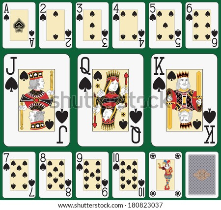 Playing cards spade suit, joker and back. Faces double sized. Green background in a separate level in vector file - stock photo
