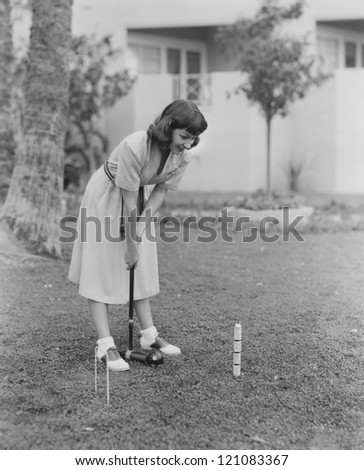 Playing croquet - stock photo
