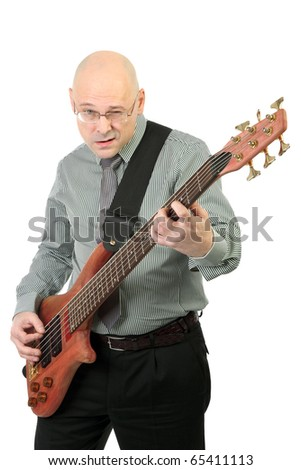 Playing electric guitar isolated background - stock photo