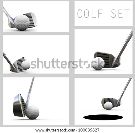 Playing golf, isolated on white set. Golf ball and club. - stock photo