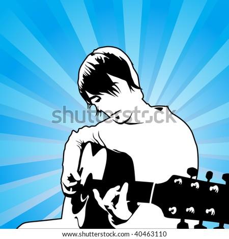 playing guitar vector illustration - stock photo