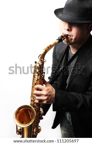 playing sax - stock photo