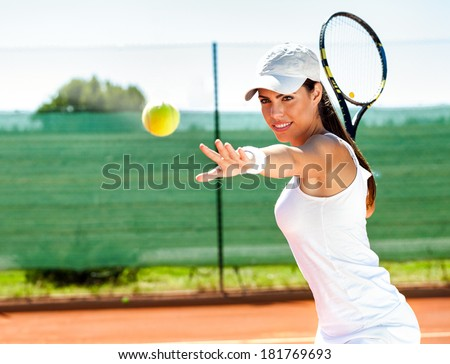 playing tennis waiting tennis ball - stock photo