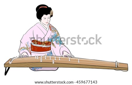Playing the koto - stock photo