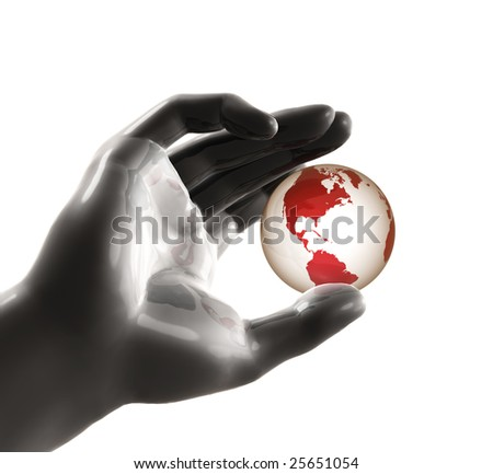 Playing the world on fingertip - stock photo