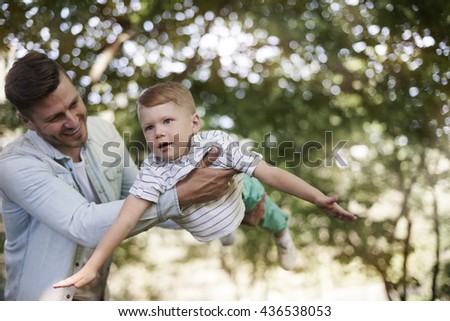 Playing with my lovely daddy - stock photo