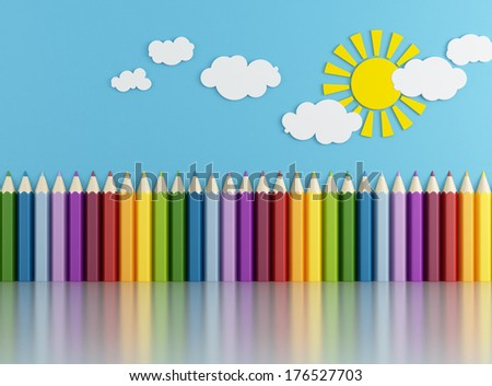 Playroom with big colorful pencils ,sun and clouds on wall without toys - rendering - stock photo
