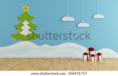 Playroom with christmas decoration - rendering - stock photo