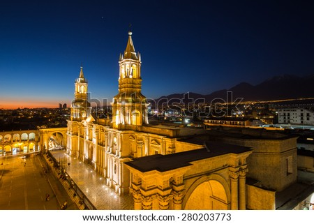 Plaza de Armas, Arequipa, Peru - stock photo