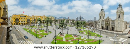 Plaza de armas in Lima, Peru - stock photo