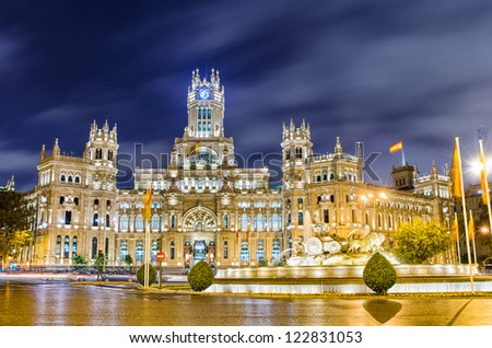 Plaza de Cibeles with the Palacio de Comunicaciones, Madrid, Spain - stock photo