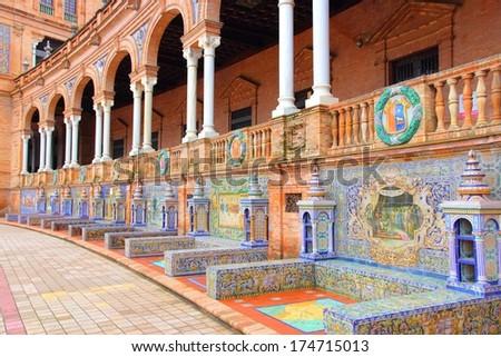 Plaza de Espana, Sevilla, Spain - famous old ceramic decoration. - stock photo