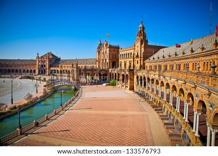 Plaza de Espana, Seville, Seville Province, Andalucia, Spain. - stock photo