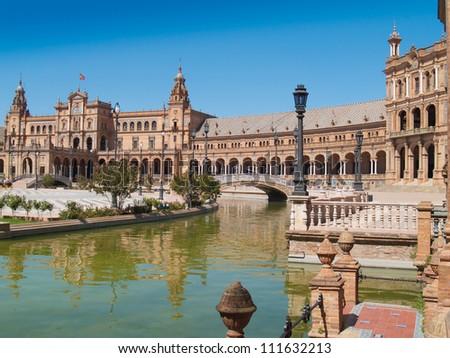 Plaza de Espana (Square of Spain) in Seville, Andalusia - stock photo