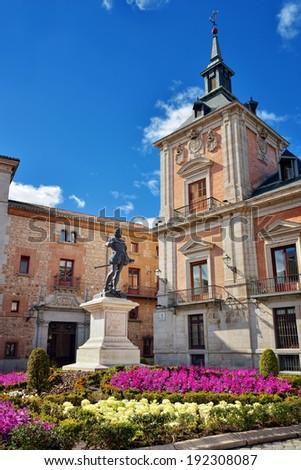 Plaza de la Villa with monument of a Don Alvaro de Bazan, Madrid, Spain - stock photo