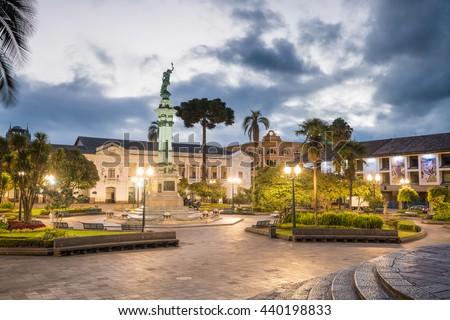 Plaza Grande in old town Quito, Ecuador at night - stock photo