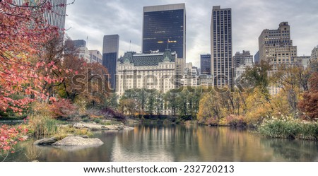 Plaza hotel early in the morning in autumn - stock photo