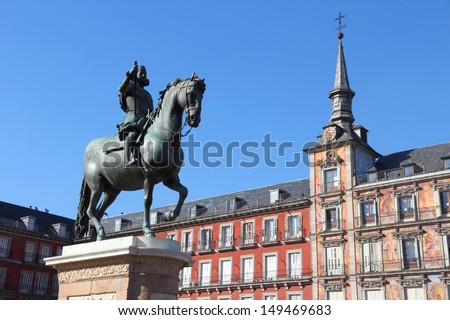 Plaza Mayor (Main Square) in Madrid, Spain. Casa de la Panaderia. - stock photo