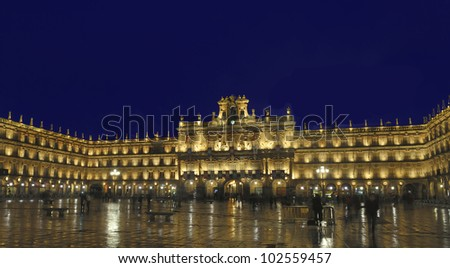 Plaza mayor, Salamanca, Spain at night with long exposure - stock photo