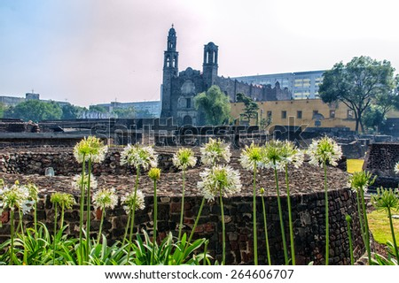 Plaza of Three Cultures Aztec Archaelogical Site Mexico City Mexico - stock photo
