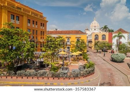 Plaza Santa Teresa square in the center of Cartagena de Indias, Colombia - stock photo