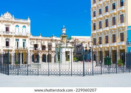 Plaza Vieja or Old Square in Havana, a tourist landmark - stock photo