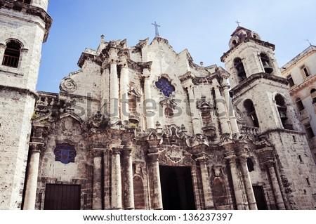 Plaza Vieja with church, Havana ,Cuba - stock photo