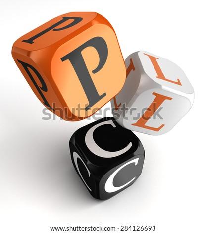 PLC Product Life Cycle acronym orange black dice blocks on white background - stock photo