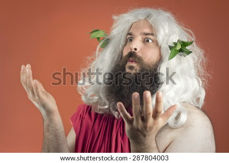 Pleading zeus throws his hands in the air and says what?  - stock photo