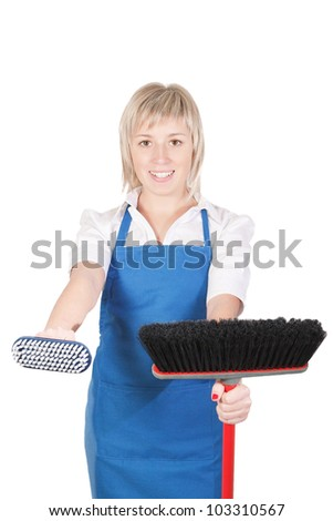 Pleasant girl getting ready for cleaning. - stock photo