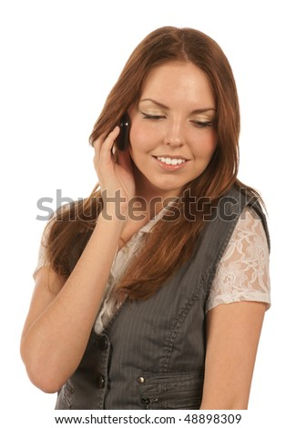 Pleasant phone call - stock photo